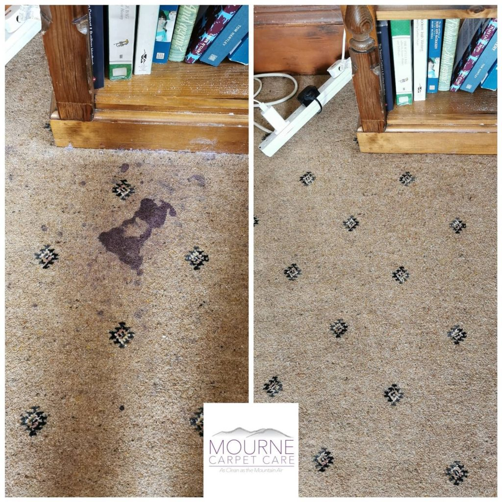 Mourne Carpet Care - Red wine stain removal on carpets in Downpatrick, Northern Ireland